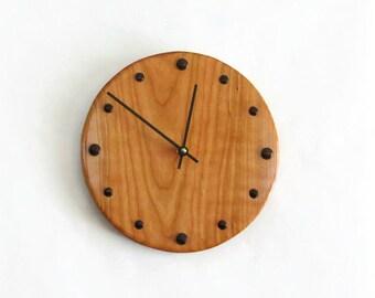 Custom Father's Day Gift, Wood Wall Clock, Rustic Wall Decor, Cherry Wood Clock