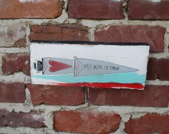 Elvis Costello lyrics painting on salvaged wood, Allison song lyrics, My Aim is True, dagger painting, Elvis Costello wall art, song quote
