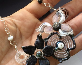 Secret Garden Small Necklace: handmade glass lampwork beads with sterling silver components - Black & White