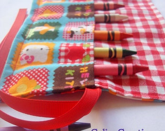 Crayon Roll Up Crayon Holder Hello Kitty - Holds 8 Crayons