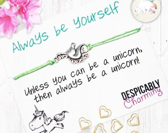 Unicorn charm bracelet, Unicorn Friendship Bracelet, unicorn jewellery, unicorn wish bracelet, bridesmaid gift, party favour, unicorns