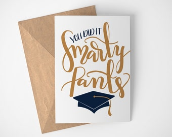 You Did It Card, Graduation Card, Congratulations Graduate, Graduate Card, Congratulations Card, Good Job Cards, Smarty Pants