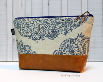 Mandala Paisley with Vegan Leather - Large Make Up Bag / Diaper Clutch / Bridesmaid Gift