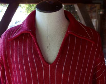 Mens Vintage Pullover Collared V-neck Sweater, Red w/ White Pin Stripes