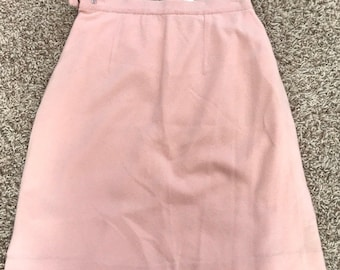 Vintage Lyle & Scott Cashmere pencil skirt Made in Scotland Blush Pink Light lined zip peach
