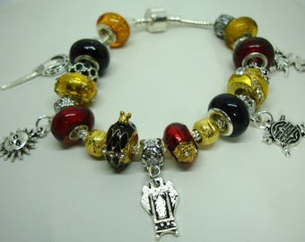 Game of Thrones European charm bracelet Murano beads crystal House Baratheon Red gold Lannister Red gold U pick size Help save a cat/kitten
