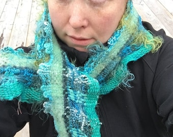 Turquoise TQ04 Everyday Scarf, handwoven and felted by me in turquoise and green