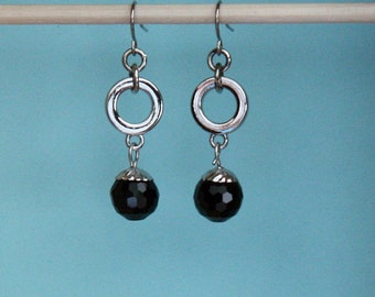 Silver and Black Earrings, Silver Earrings, Black Earrings