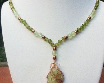 Green prehnite pendant necklace with peridots