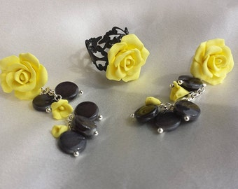 Yellow rose parure