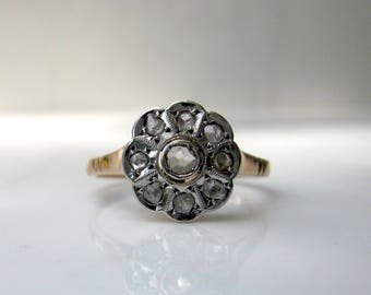 Victorian 18k Solid Yellow Gold and 18k Solid White Gold Rose Cut Diamond Engagement Ring, Size 6.5