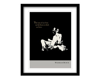 literary art print, black and white art, gift for her, gift for women, Wilhelm Busch, literary quotes, illustration art, inspirational quote