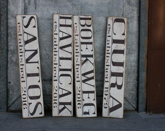 Hand Painted primitive looking ( Custom Family Name & est. sign ) cream w/chocolate brown letters pine wood sign