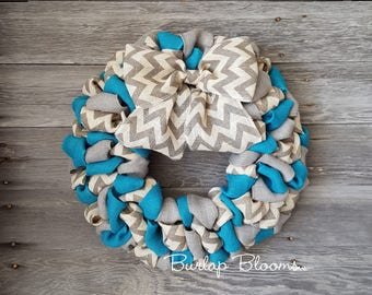 Summer Wreath, Spring Wreath, Year Round Wreath, Burlap Wreath, Chevron  Wreath,