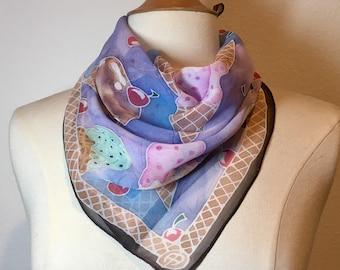 Icy Blue and lavender Ice Cream Scarf, hand painted silk georgette neckerchief, sweet dessert scarf