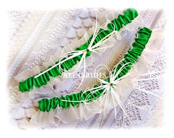 Emerald Wedding Bridal Garters Bridal Accessories - Green Wedding Garters - Garter Belt