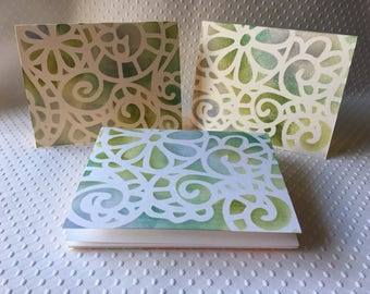 Art Deco Stenciled Note Cards - Set of 8 - Handmade cards - 5.5 x 4.25 in. - Boxed set with envelopes - Greeting Cards