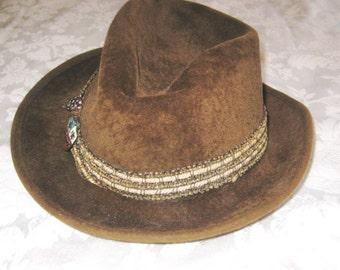 Mens Alexander fedora hat, brown felt hat, 40s 50s hat, mid century