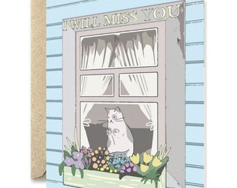 I'll Miss you- Cat greeting card