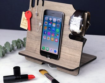 Charging Station, iPhone Stand, Gift for Him Boyfriend Husband , Mobile phone & tablet Docking Station, Father's Day gifts, Birthday Gifts