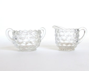 Vintage 1970's Fostoria American Clear Ice Cube Glass Sugar and Creamer Set