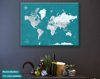 Personalised Push pin travel map / World Travel Map / Push Pin travel map /  World map Canvas / Personalized gift / World map pin board