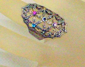 Tall Gold Vintage Ring - Multicolor Stones - Size 6.5 - Fancy Victorian Design - Big Ring - Statement Ring