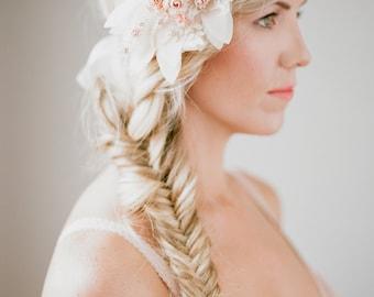 Flower Headpiece - Bridal Headpiece - Rhinestone Bridal Headband - Bridal Accessory - Wedding Headband - Gold Bridal Headband