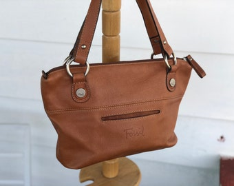 Vintage Fossil Brown british tan leather satchel handbag