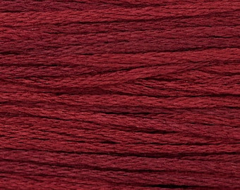 Weeks Dye Works - MERLOT 1334 WDW • 6 Strand Embroidery Floss • Hand Over Dyed Fibers, 5 Yard Continuous Length Skein