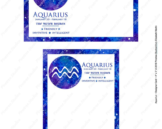 "Aquarius ~ Zodiac Sign Postcards (4"" x 6"" Landscape and Portrait) Digital Download ~ Printable / Journal Label / Card / E-Card / Ephemera"