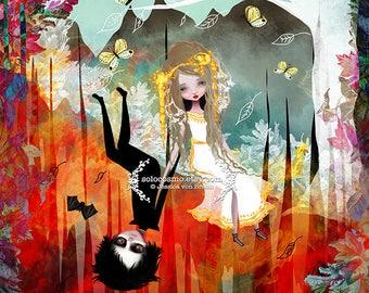 Fine Giclee Art Print - 'Hades and Persephone' - Myths and legends artwork - 8x10, 8.5x11 , 11x17 - Jessica von Braun illustration - Spring