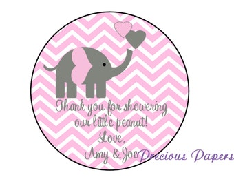 """20 - 2"""" round Personalized PRINTED pink elephant baby shower sticker pink and gray chevron baby shower favor stickers"""