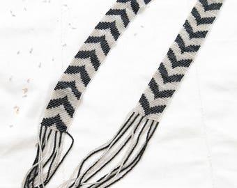 Vintage Chevron Beaded Necklace | Native American Jewelry