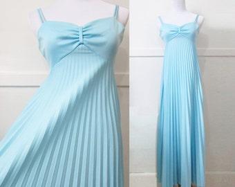 Pleated Tent Dress Gown Vintage 70s XXS XS