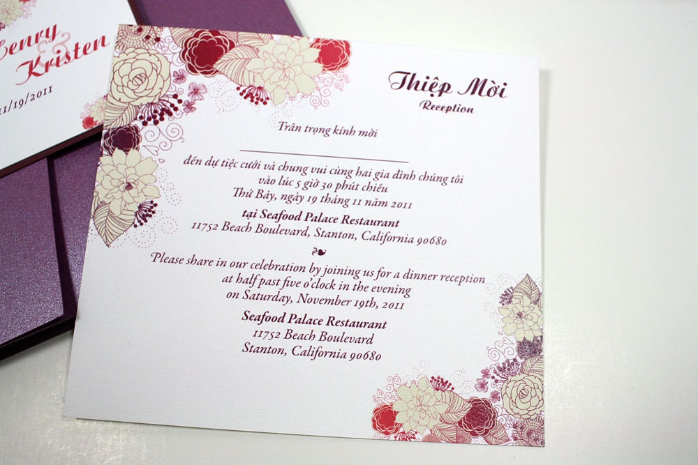 Bilingual English and Vietnamese Oriental Wedding Invitations
