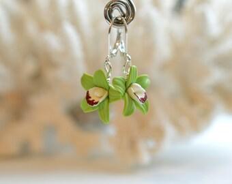 Green Cymbidium Orchid Earrings, Green orchid Earrings, Orchid Jewelry.