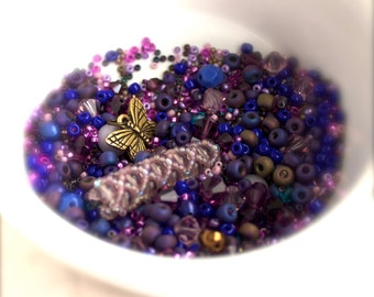 Purple Lavender Destash Bead Mix #26 - 50 grams - Beaded Glass Tube, Gold Butterfly, Seed Beads