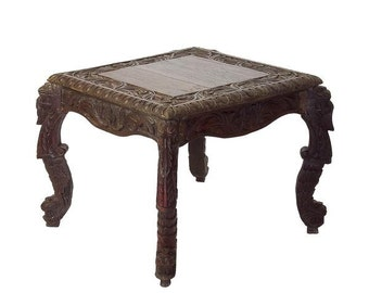 Anglo Indian Occasional Table, Classic Anglo Indian Table, Anglo Indian Carved Table, Vintage Side Table, Carved table, Indian