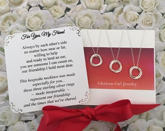 FRIENDSHIP NECKLACE for 3 Sterling Silver BEST Friend Jewelry Three Friends Necklace for 3 Friends Gifts for 3 Friends 3 Connected Circles