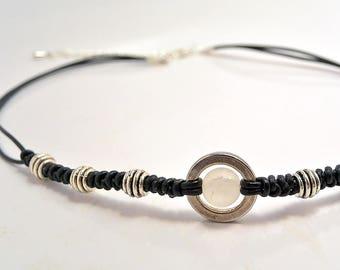 Crystal rock choker, leather gem choker, heal stone jewelry, Choker necklace, Handmade jewelry, adjustable, pure symbol, Birthday gift