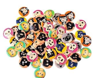 Cat mix of 20 wooden buttons random mix 2 hole button 15mm