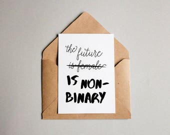 Non-binary Gender Equality Postcard | feminist postcard, feminist print, feminist gift, lgbtqa, equal rights, non-binary print, empowering