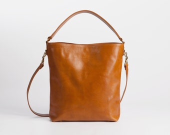 Leather tote in light brown - Molly, Honey Leather Tote, Market bag, Leather tote, Medium bag, Messanger