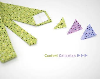 Confetti collection neck tie,matte green,cyan purple,purple violet,lime green wedding,accessory groom,groomsmen,men,spring,colorful wedding