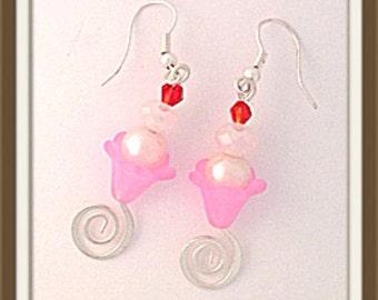 Handmade MWL pink flower ice cream earrings. 0039