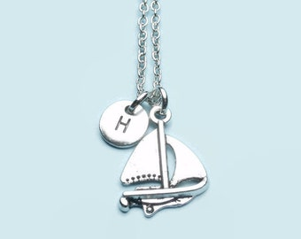Sailing boat charm necklace, personalised initial necklace, custom charm necklace, personalised charm necklace, nautical jewellery, gift