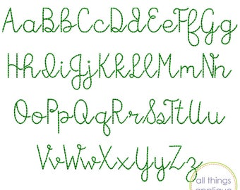 Eliza Quick Stitch Font (#1002) - 26 Letters - Upper and Lower - 5 Sizes - Machine Embroidery Design - INSTANT DOWNLOAD