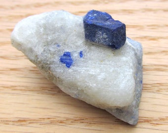 Lapis Lazuli Lazurite Crystal on White Marble Martix - Natural Dodecahedral Mineral Specimen