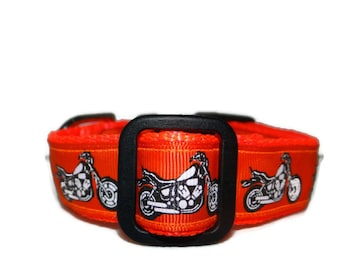 Adjustable Dog  Collar,  * Biker *  Motorcycle buckle or martingale -